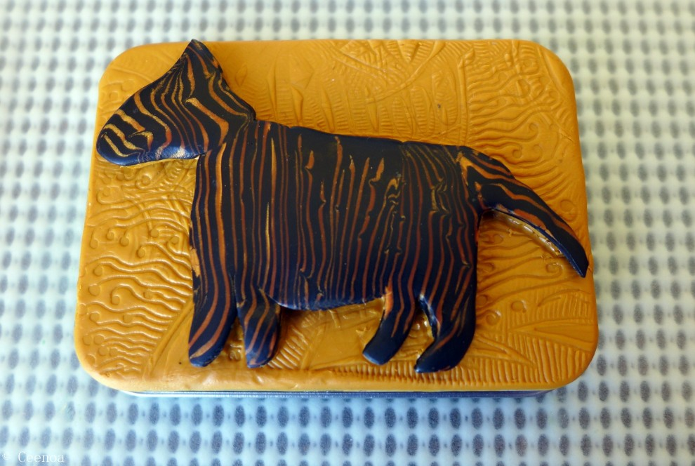 Tassie Tiger - Polymer Clay on Tin Lid