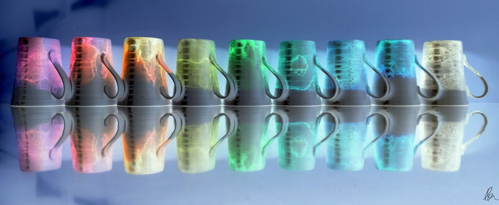 Pretty Mugs All In A Row - inverted
