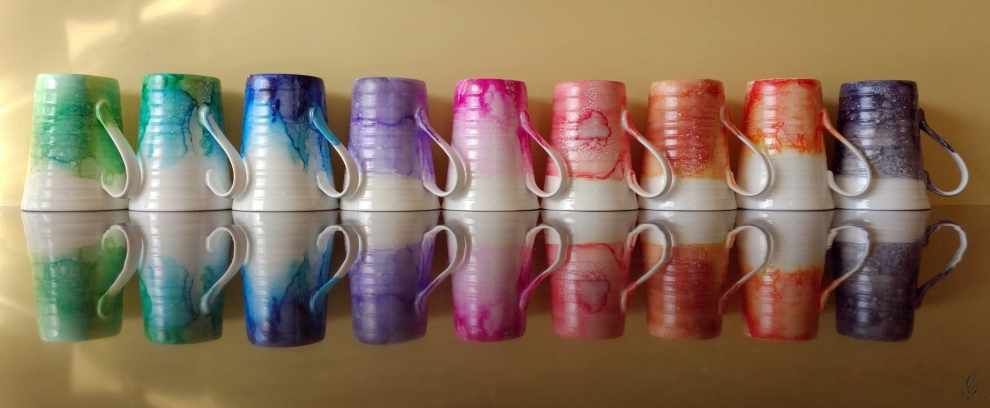 Pretty Mugs All In A Row - Alcohol Ink on Bone China