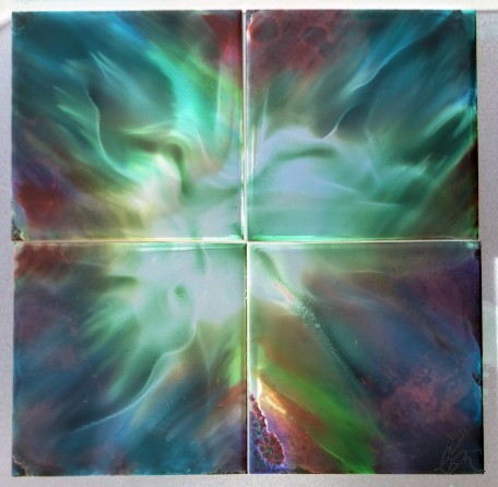 Alcohol Ink Tile Set - inverted